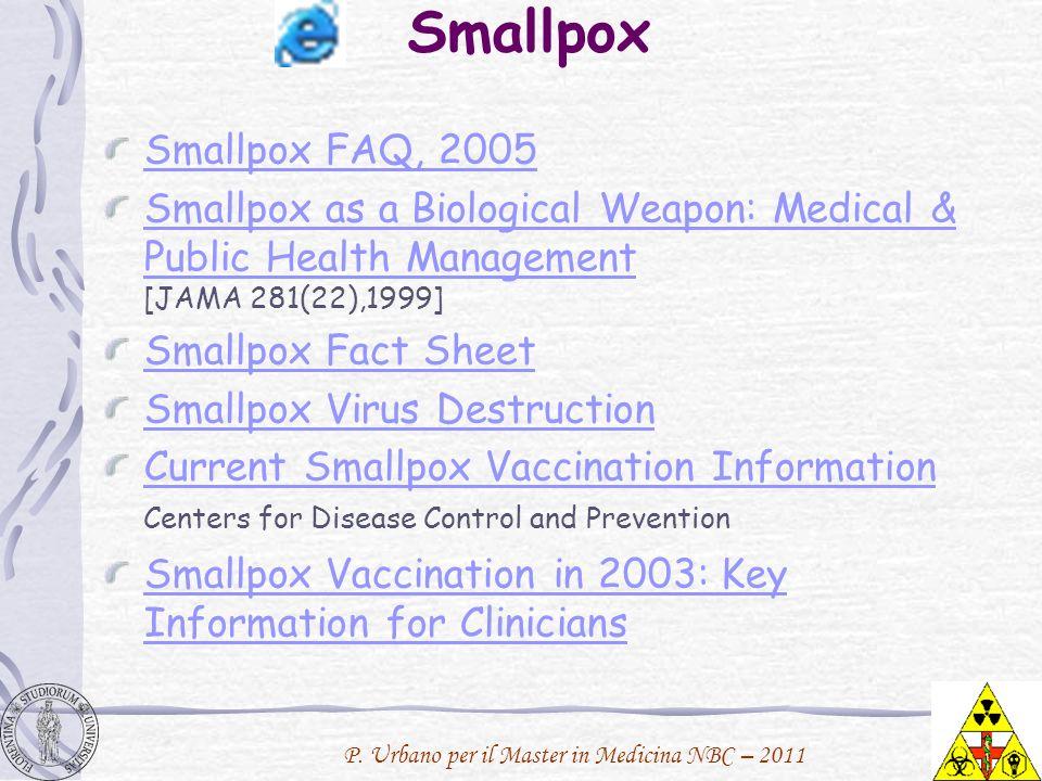 P. Urbano per il Master in Medicina NBC – 2011 Smallpox Smallpox FAQ, 2005 Smallpox as a Biological Weapon: Medical & Public Health Management Smallpo