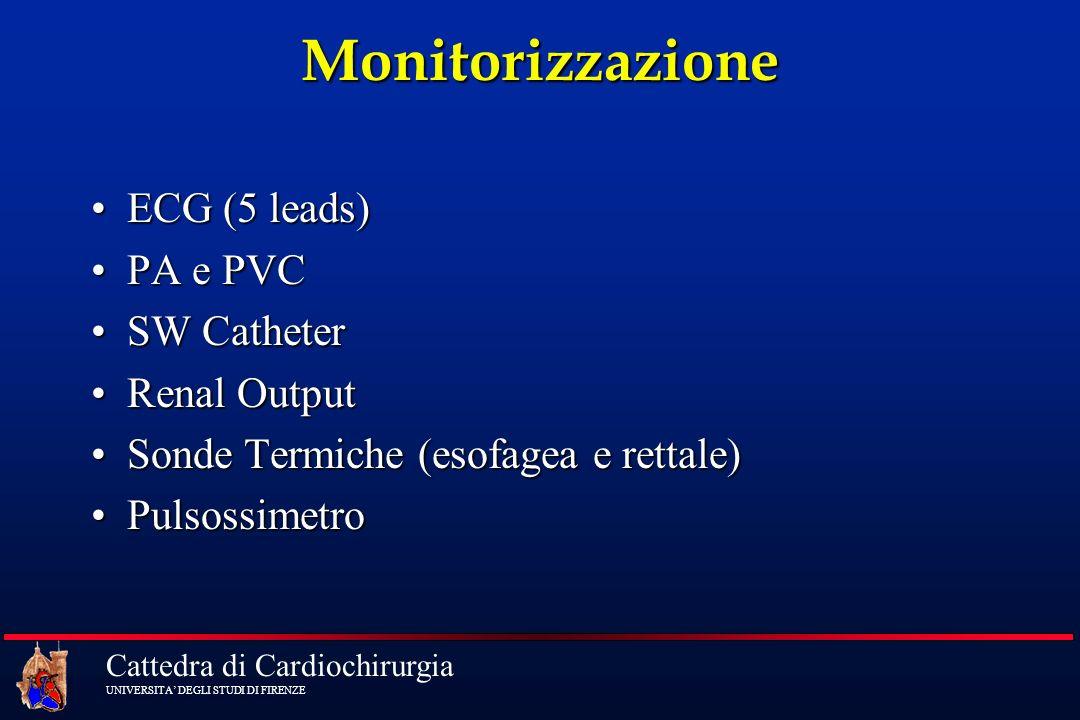 Cattedra di Cardiochirurgia UNIVERSITA DEGLI STUDI DI FIRENZEMonitorizzazione ECG (5 leads)ECG (5 leads) PA e PVCPA e PVC SW CatheterSW Catheter Renal