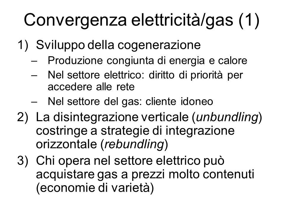 Convergenza elettricità/gas (1) 1)Sviluppo della cogenerazione –Produzione congiunta di energia e calore –Nel settore elettrico: diritto di priorità p