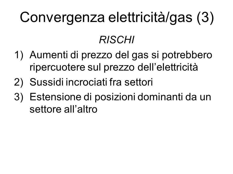 Convergenza elettricità/gas (3) RISCHI 1)Aumenti di prezzo del gas si potrebbero ripercuotere sul prezzo dellelettricità 2)Sussidi incrociati fra sett