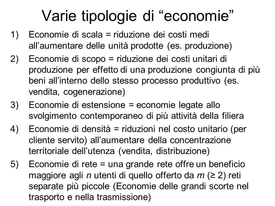 Varie tipologie di economie 1)Economie di scala = riduzione dei costi medi allaumentare delle unità prodotte (es. produzione) 2)Economie di scopo = ri