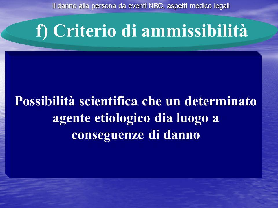 Il danno alla persona da eventi NBC, aspetti medico legali f) Criterio di ammissibilità Possibilità scientifica che un determinato agente etiologico d