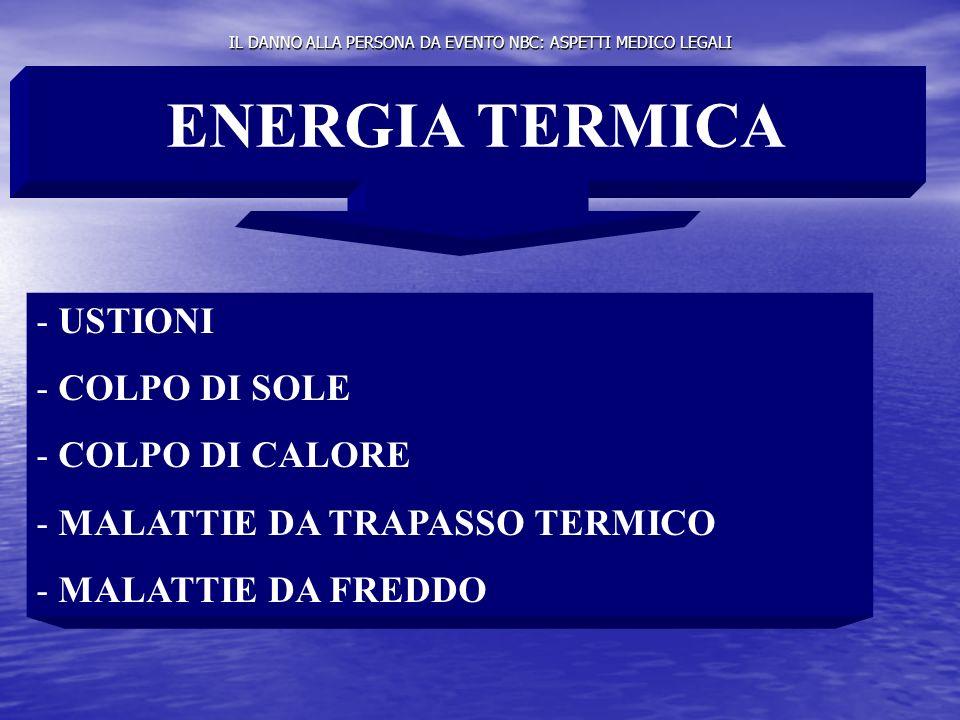 IL DANNO ALLA PERSONA DA EVENTO NBC: ASPETTI MEDICO LEGALI ENERGIA TERMICA - USTIONI - COLPO DI SOLE - COLPO DI CALORE - MALATTIE DA TRAPASSO TERMICO