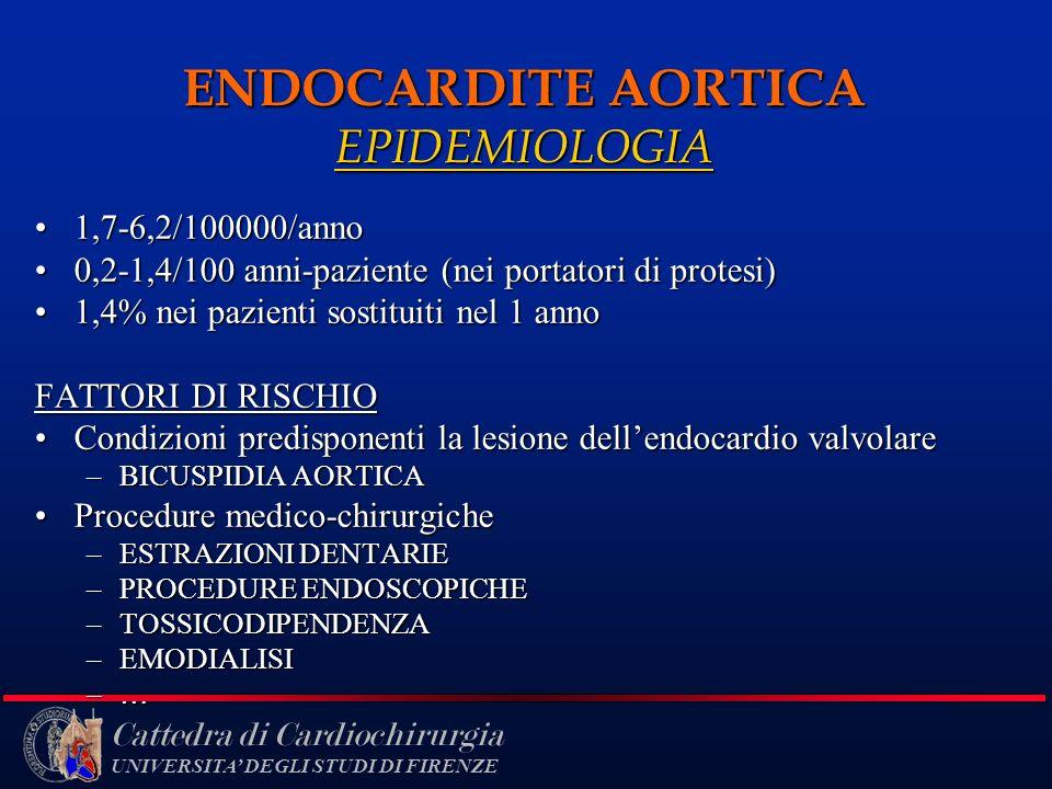 Cattedra di Cardiochirurgia UNIVERSITA DEGLI STUDI DI FIRENZE ENDOCARDITE AORTICA EPIDEMIOLOGIA 1,7-6,2/100000/anno1,7-6,2/100000/anno 0,2-1,4/100 ann