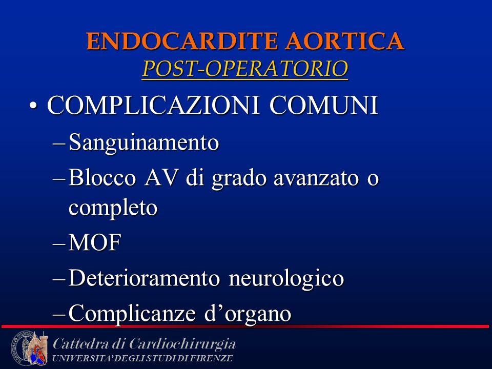 Cattedra di Cardiochirurgia UNIVERSITA DEGLI STUDI DI FIRENZE ENDOCARDITE AORTICA POST-OPERATORIO COMPLICAZIONI COMUNICOMPLICAZIONI COMUNI –Sanguiname