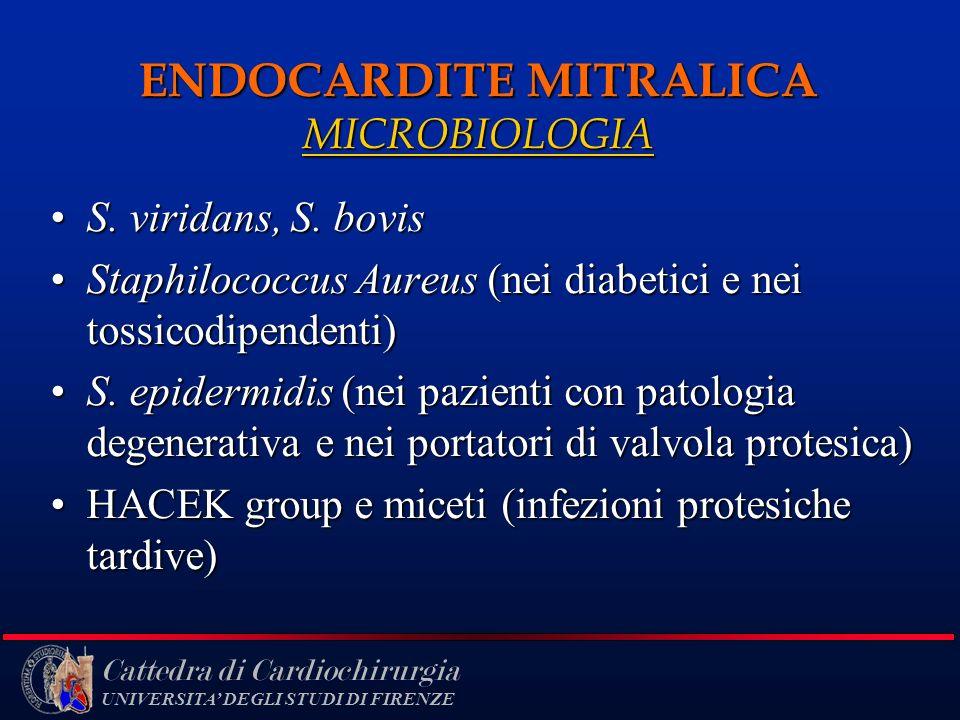Cattedra di Cardiochirurgia UNIVERSITA DEGLI STUDI DI FIRENZE ENDOCARDITE MITRALICA MICROBIOLOGIA S. viridans, S. bovisS. viridans, S. bovis Staphiloc
