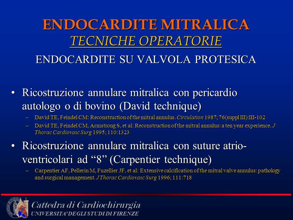 Cattedra di Cardiochirurgia UNIVERSITA DEGLI STUDI DI FIRENZE ENDOCARDITE MITRALICA TECNICHE OPERATORIE ENDOCARDITE SU VALVOLA PROTESICA Ricostruzione