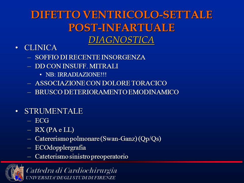Cattedra di Cardiochirurgia UNIVERSITA DEGLI STUDI DI FIRENZE DIFETTO VENTRICOLO-SETTALE POST-INFARTUALE DIAGNOSTICA CLINICACLINICA –SOFFIO DI RECENTE