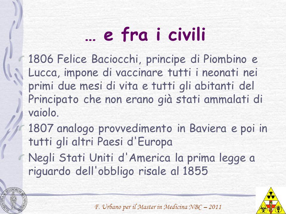 F. Urbano per il Master in Medicina NBC – 2011 … e fra i civili 1806 Felice Baciocchi, principe di Piombino e Lucca, impone di vaccinare tutti i neona