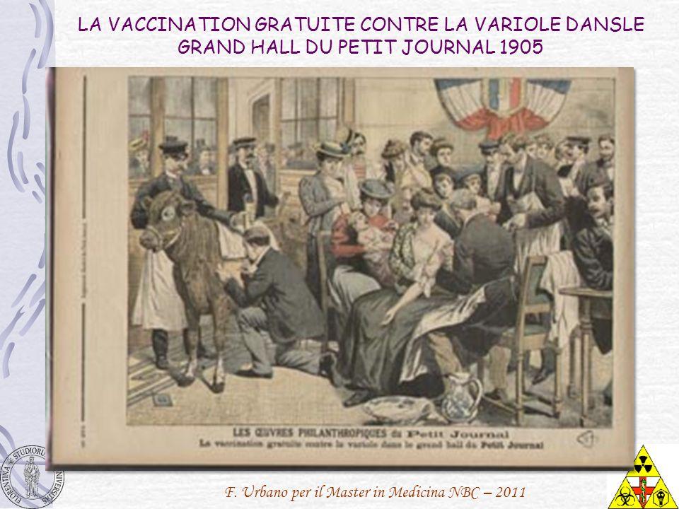 F. Urbano per il Master in Medicina NBC – 2011 LA VACCINATION GRATUITE CONTRE LA VARIOLE DANSLE GRAND HALL DU PETIT JOURNAL 1905