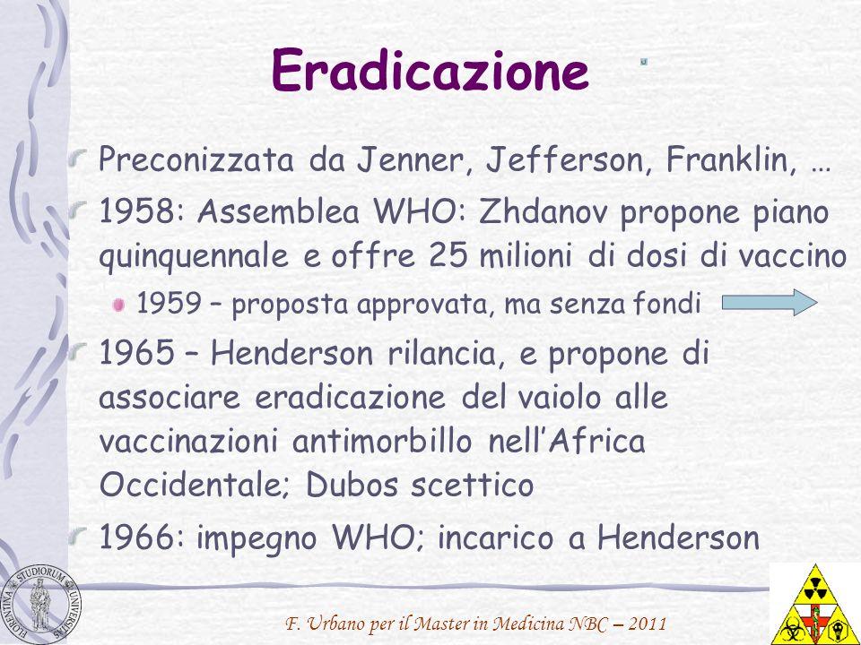 F. Urbano per il Master in Medicina NBC – 2011 Eradicazione Preconizzata da Jenner, Jefferson, Franklin, … 1958: Assemblea WHO: Zhdanov propone piano