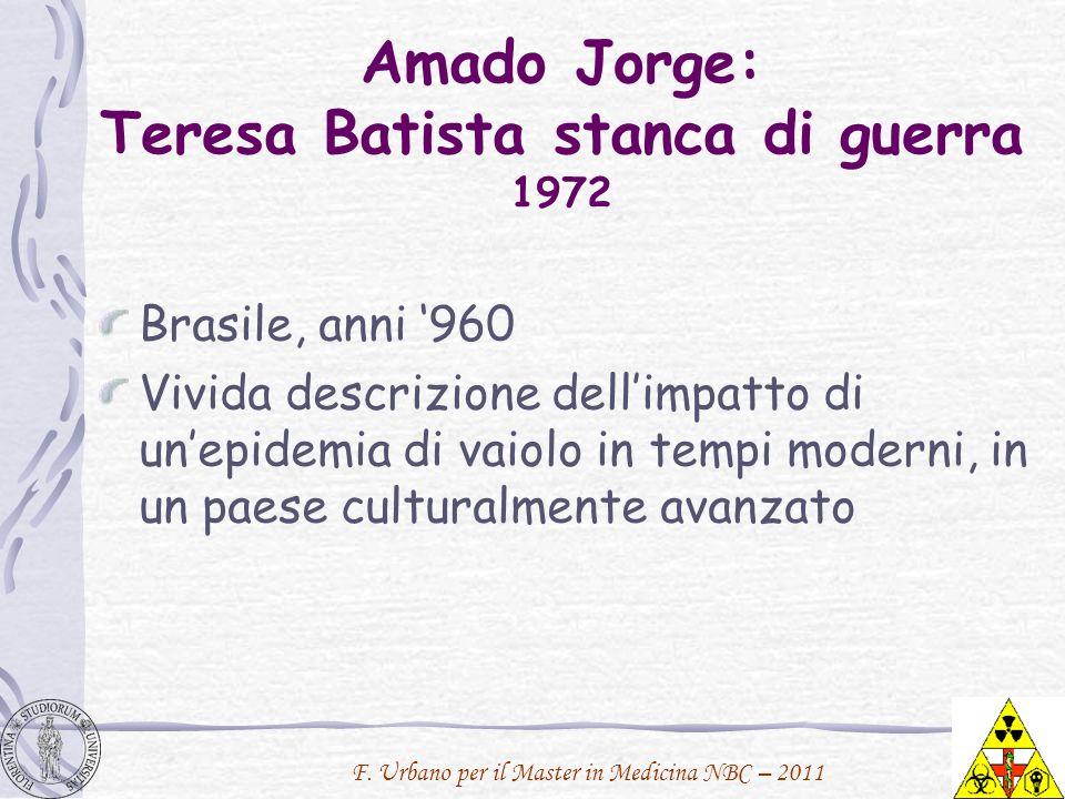 Amado Jorge: Teresa Batista stanca di guerra 1972 Brasile, anni 960 Vivida descrizione dellimpatto di unepidemia di vaiolo in tempi moderni, in un pae