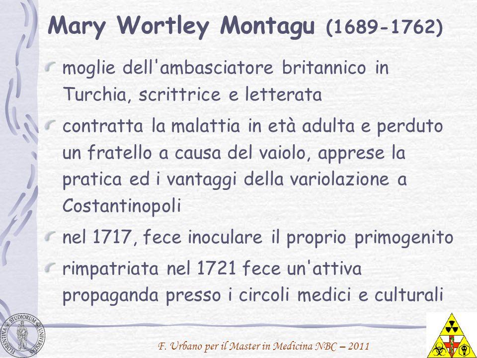F. Urbano per il Master in Medicina NBC – 2011 Mary Wortley Montagu (1689-1762) moglie dell'ambasciatore britannico in Turchia, scrittrice e letterata