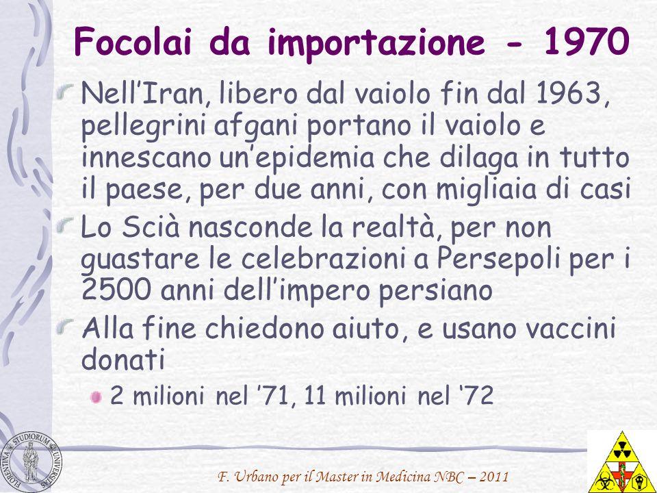 F. Urbano per il Master in Medicina NBC – 2011 Focolai da importazione - 1970 NellIran, libero dal vaiolo fin dal 1963, pellegrini afgani portano il v