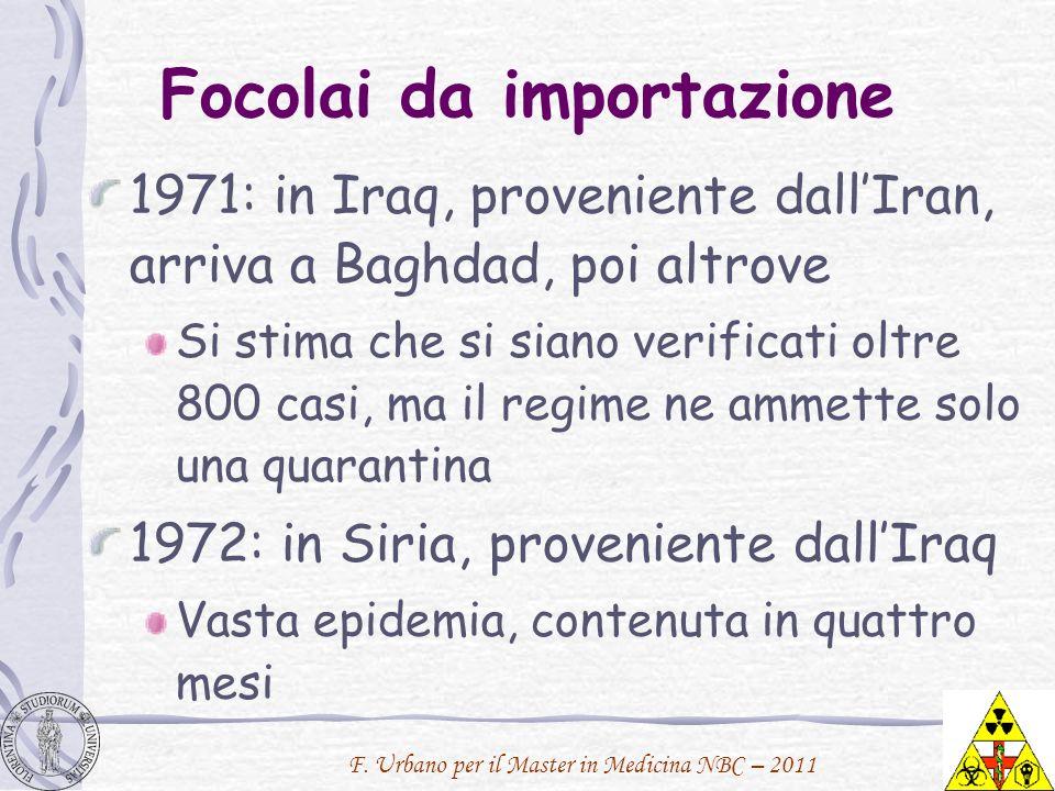 F. Urbano per il Master in Medicina NBC – 2011 Focolai da importazione 1971: in Iraq, proveniente dallIran, arriva a Baghdad, poi altrove Si stima che