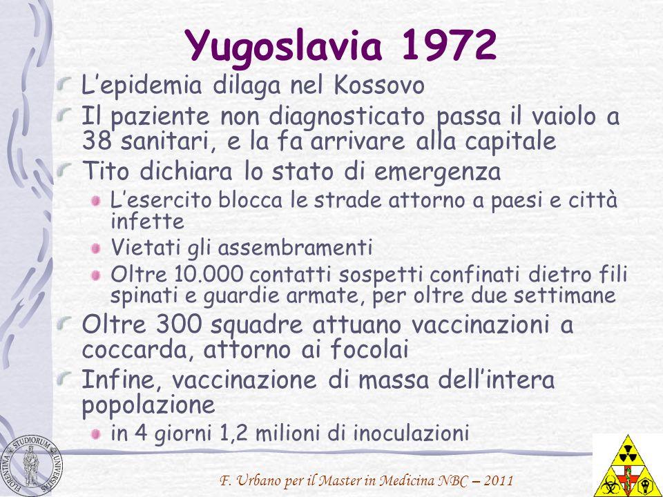 F. Urbano per il Master in Medicina NBC – 2011 Yugoslavia 1972 Lepidemia dilaga nel Kossovo Il paziente non diagnosticato passa il vaiolo a 38 sanitar