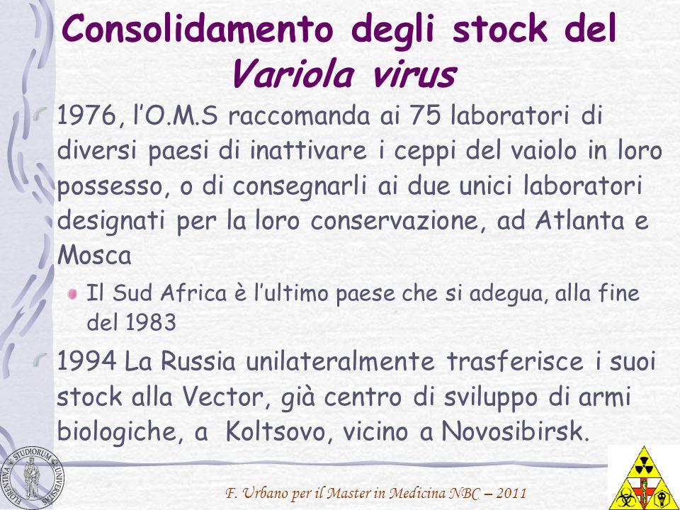 Consolidamento degli stock del Variola virus 1976, lO.M.S raccomanda ai 75 laboratori di diversi paesi di inattivare i ceppi del vaiolo in loro posses