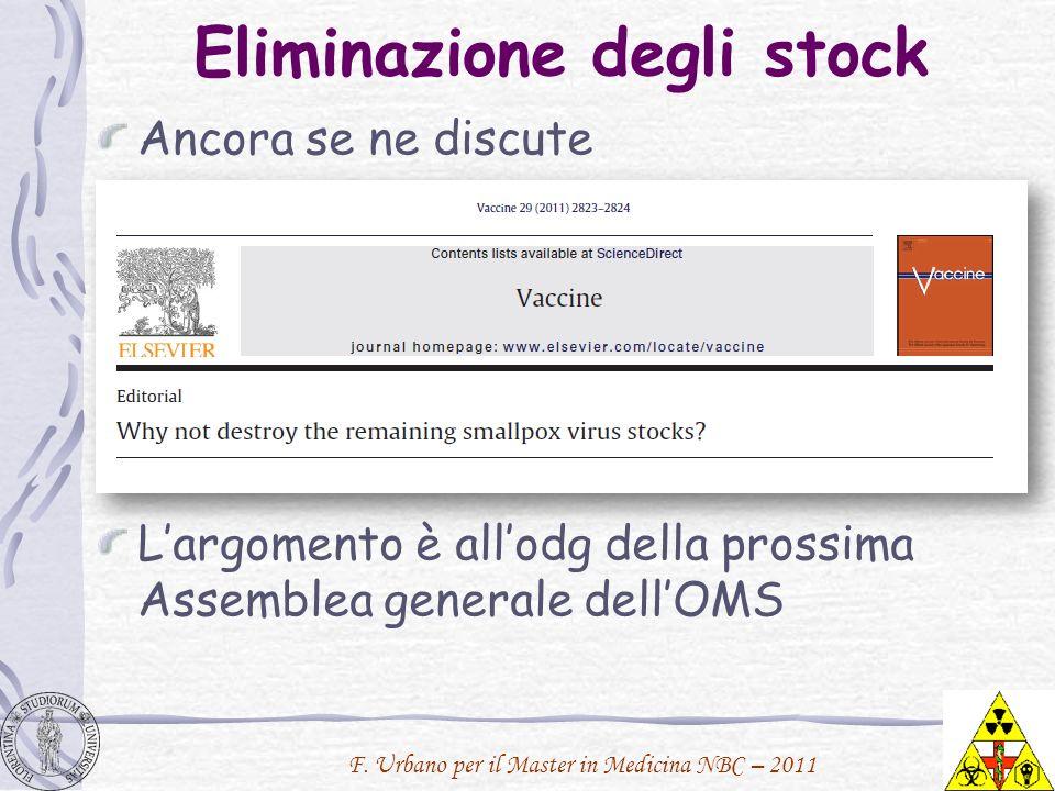 F. Urbano per il Master in Medicina NBC – 2011 Eliminazione degli stock Ancora se ne discute Largomento è allodg della prossima Assemblea generale del