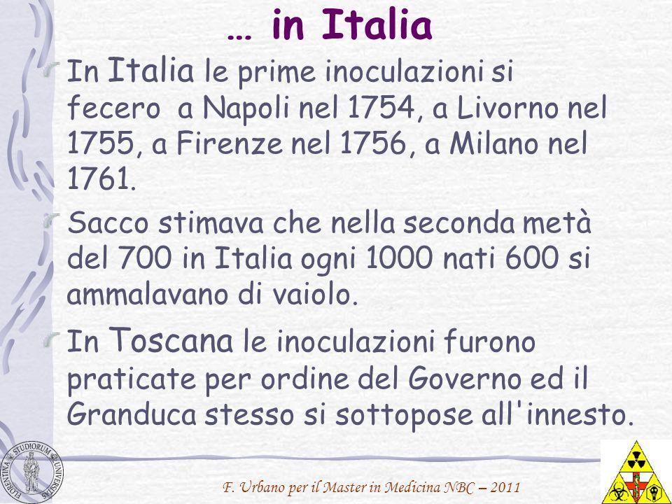 F. Urbano per il Master in Medicina NBC – 2011 … in Italia In Italia le prime inoculazioni si fecero a Napoli nel 1754, a Livorno nel 1755, a Firenze