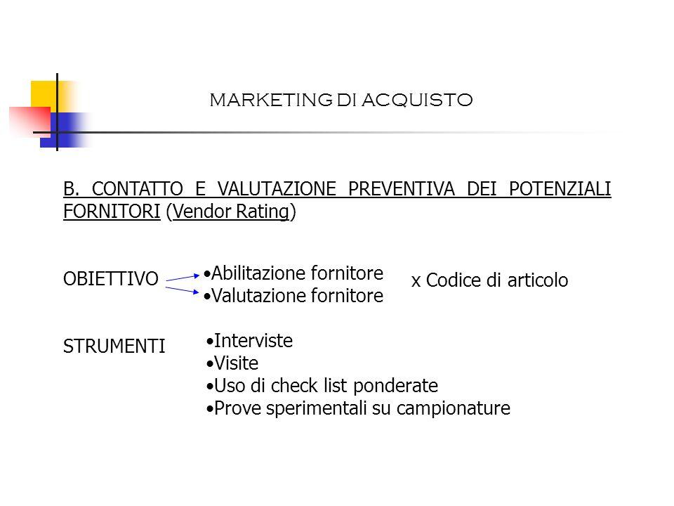 B. CONTATTO E VALUTAZIONE PREVENTIVA DEI POTENZIALI FORNITORI (Vendor Rating) OBIETTIVO STRUMENTI Abilitazione fornitore Valutazione fornitore x Codic