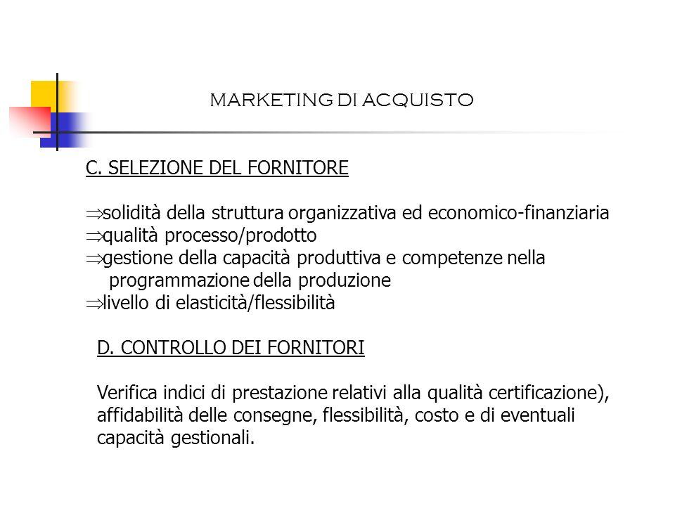 C. SELEZIONE DEL FORNITORE solidità della struttura organizzativa ed economico-finanziaria qualità processo/prodotto gestione della capacità produttiv
