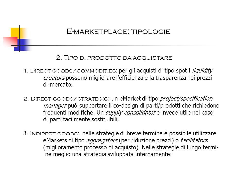 E-marketplace: tipologie 2. Tipo di prodotto da acquistare 1. Direct goods/commodities: per gli acquisti di tipo spot i liquidity creators possono mig