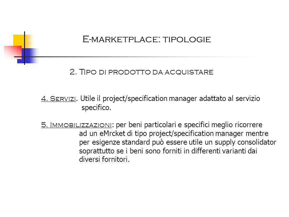 E-marketplace: tipologie 2. Tipo di prodotto da acquistare 4. Servizi. Utile il project/specification manager adattato al servizio specifico. 5. Immob