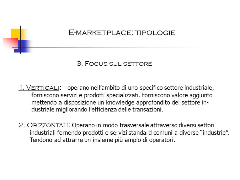 E-marketplace: tipologie 3. Focus sul settore 1. Verticali : operano nellambito di uno specifico settore industriale, forniscono servizi e prodotti sp