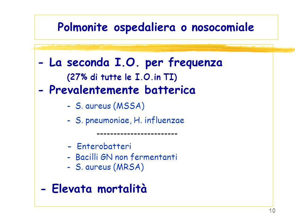 10 Polmonite ospedaliera o nosocomiale - La seconda I.O. per frequenza (27% di tutte le I.O.in TI) - Prevalentemente batterica - S. aureus (MSSA) - S.