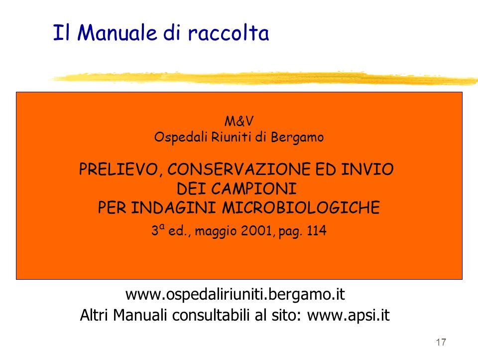 17 Il Manuale di raccolta www.ospedaliriuniti.bergamo.it Altri Manuali consultabili al sito: www.apsi.it M&V Ospedali Riuniti di Bergamo PRELIEVO, CON