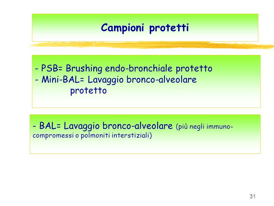 31 Campioni protetti - PSB= Brushing endo-bronchiale protetto - Mini-BAL= Lavaggio bronco-alveolare protetto - BAL= Lavaggio bronco-alveolare (più neg