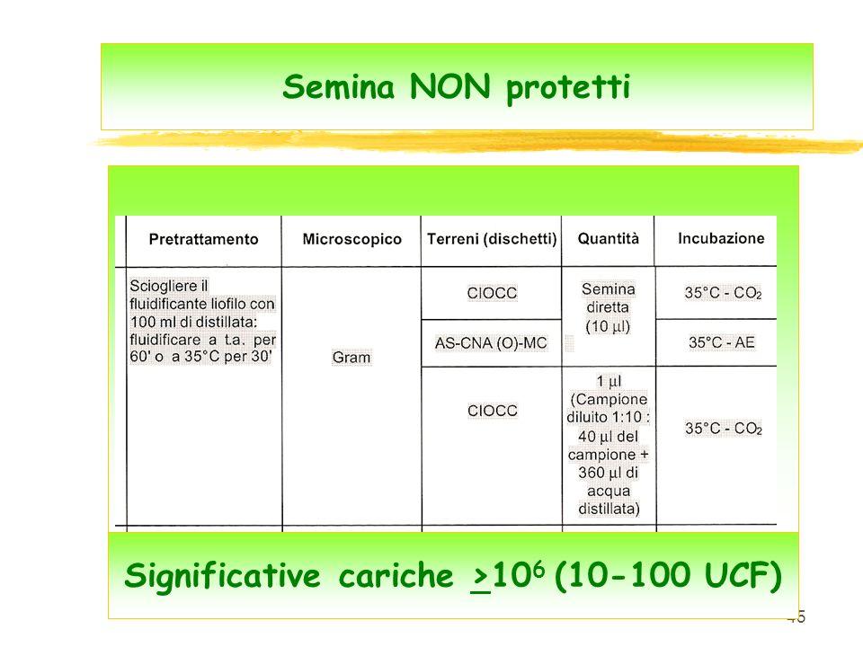 45 Semina NON protetti Significative cariche >10 6 (10-100 UCF)