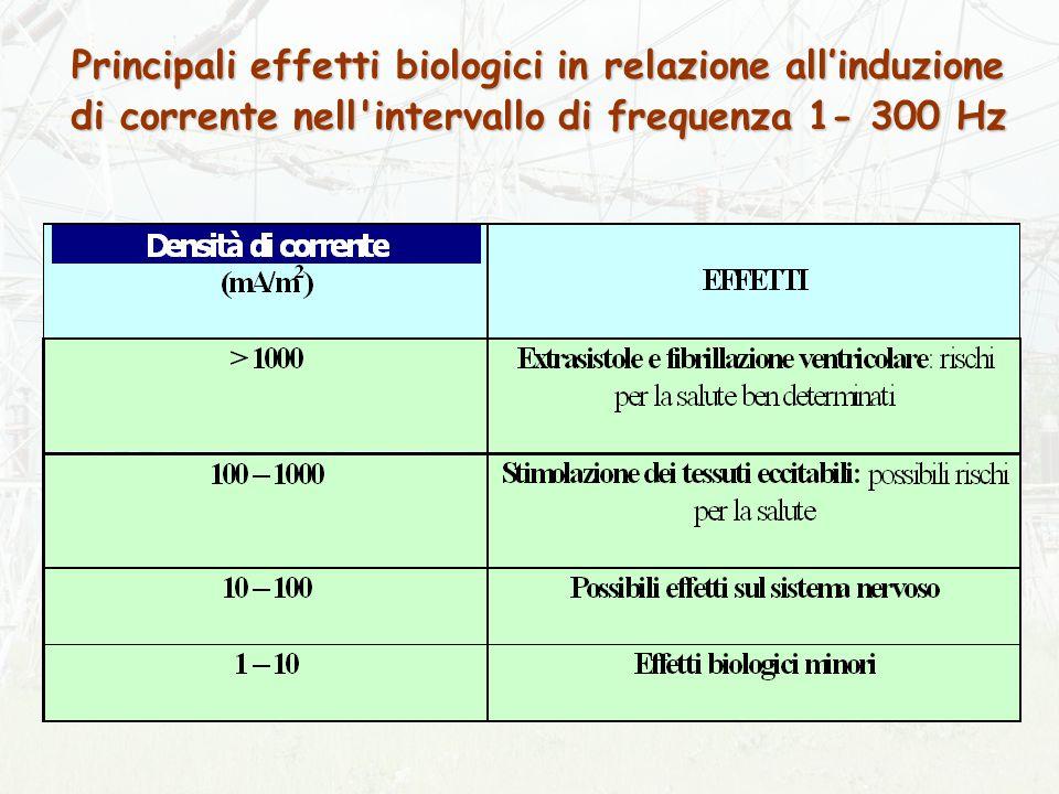 Principali effetti biologici in relazione allinduzione di corrente nell intervallo di frequenza 1- 300 Hz