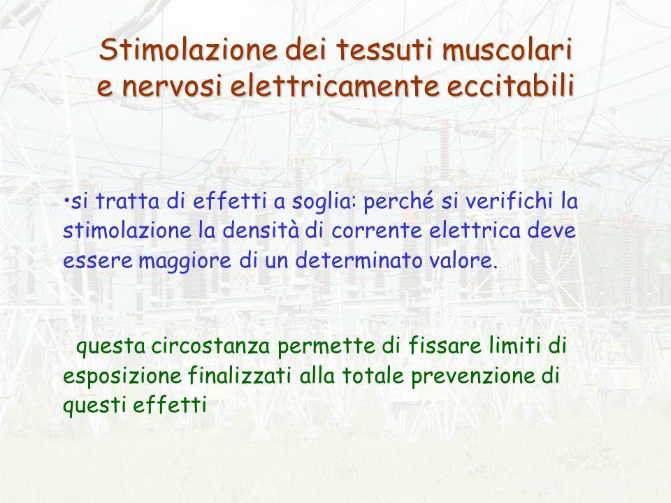 Stimolazione dei tessuti muscolari e nervosi elettricamente eccitabili si tratta di effetti a soglia: perché si verifichi la stimolazione la densità di corrente elettrica deve essere maggiore di un determinato valore.