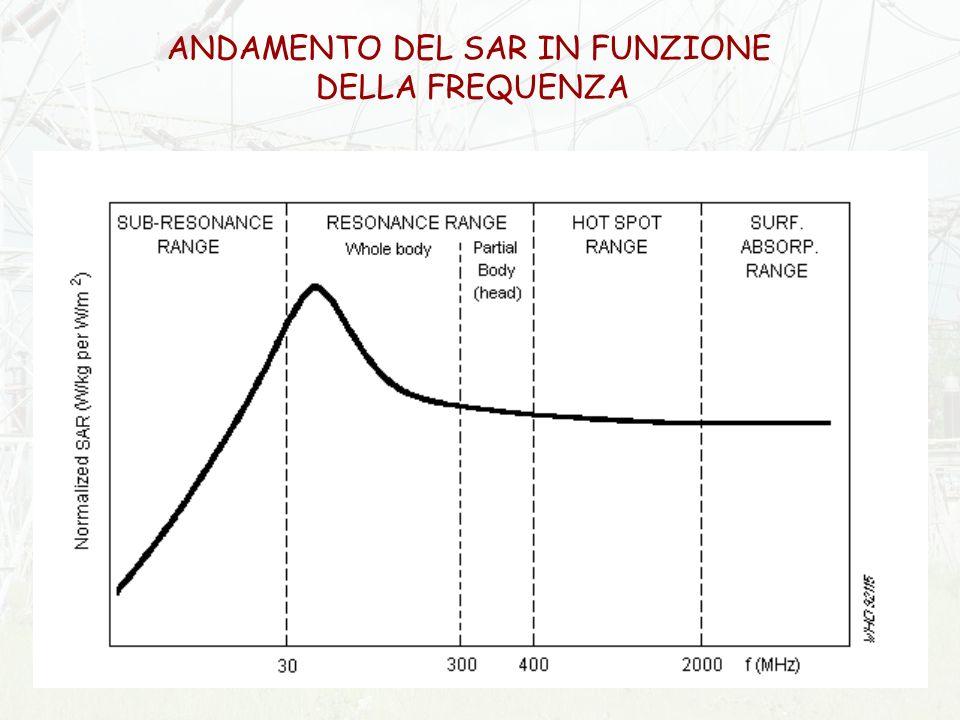 ANDAMENTO DEL SAR IN FUNZIONE DELLA FREQUENZA