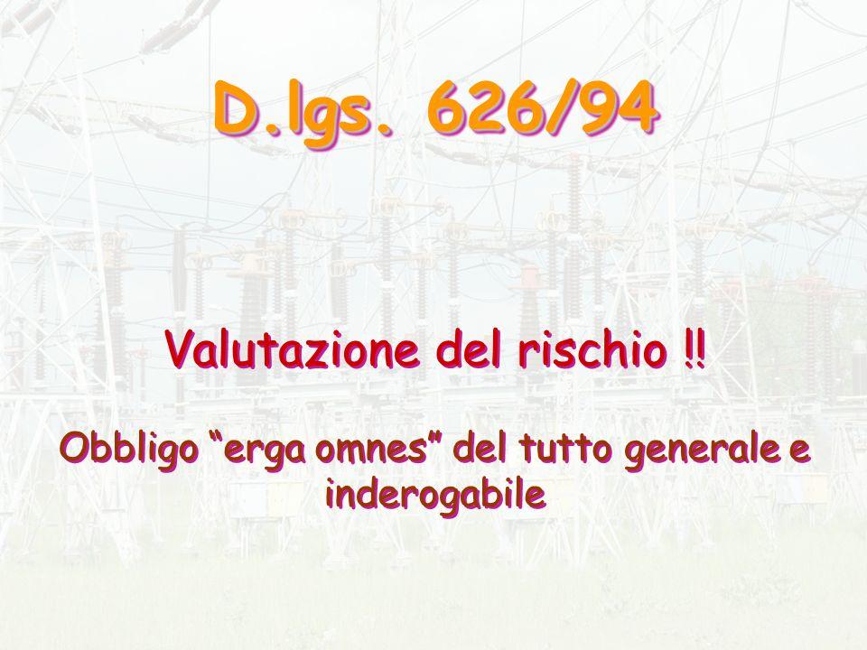 D.lgs.626/94 D.lgs. 626/94 Valutazione del rischio !.