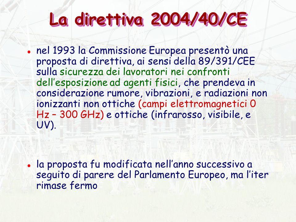 La direttiva 2004/40/CE l nel 1993 la Commissione Europea presentò una proposta di direttiva, ai sensi della 89/391/CEE sulla sicurezza dei lavoratori nei confronti dellesposizione ad agenti fisici, che prendeva in considerazione rumore, vibrazioni, e radiazioni non ionizzanti non ottiche (campi elettromagnetici 0 Hz – 300 GHz) e ottiche (infrarosso, visibile, e UV).