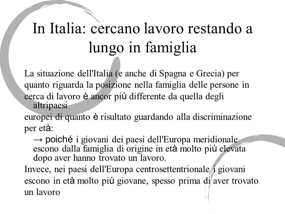 In Italia: cercano lavoro restando a lungo in famiglia La situazione dell'Italia (e anche di Spagna e Grecia) per quanto riguarda la posizione nella f