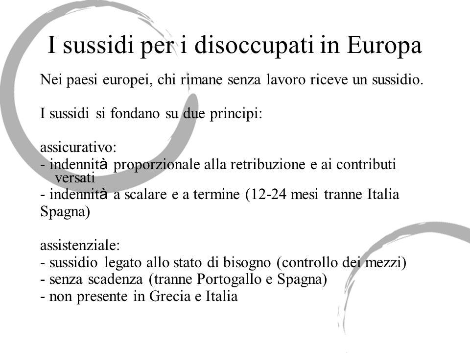 I sussidi per i disoccupati in Europa Nei paesi europei, chi rimane senza lavoro riceve un sussidio. I sussidi si fondano su due principi: assicurativ