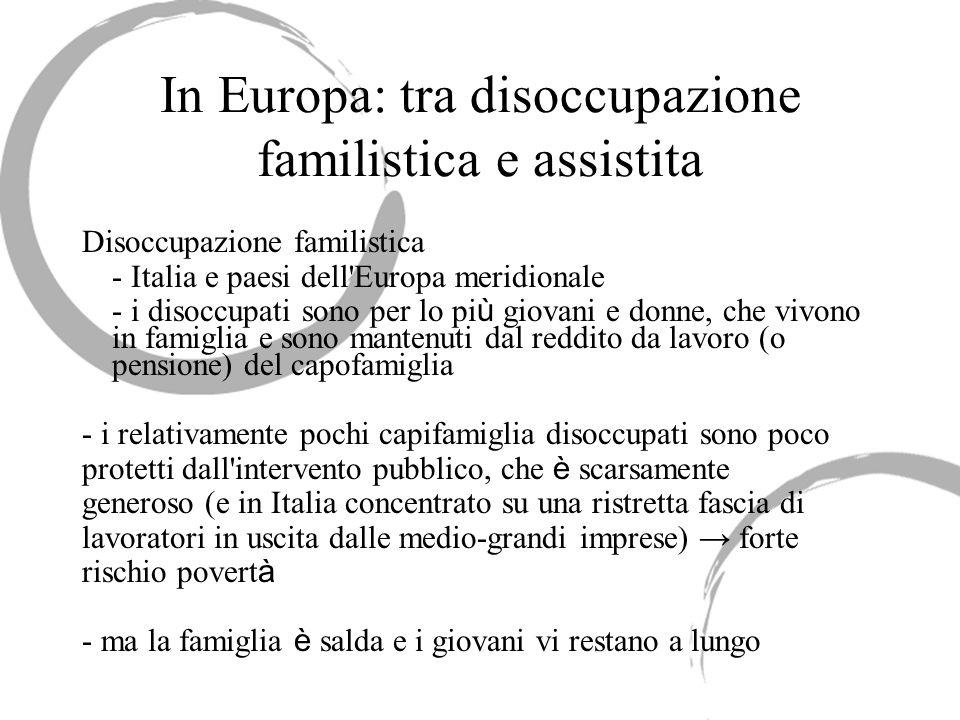 In Europa: tra disoccupazione familistica e assistita Disoccupazione familistica - Italia e paesi dell'Europa meridionale - i disoccupati sono per lo