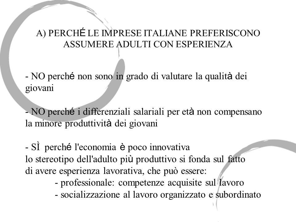 A) PERCH É LE IMPRESE ITALIANE PREFERISCONO ASSUMERE ADULTI CON ESPERIENZA - NO perch é non sono in grado di valutare la qualit à dei giovani - NO per