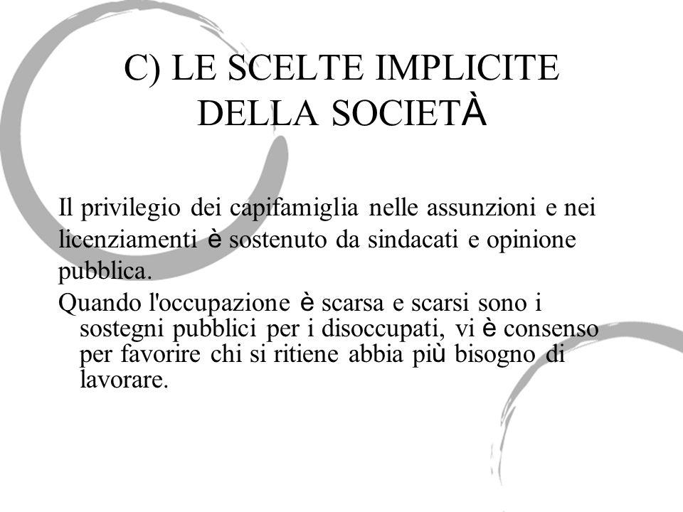 C) LE SCELTE IMPLICITE DELLA SOCIET À Il privilegio dei capifamiglia nelle assunzioni e nei licenziamenti è sostenuto da sindacati e opinione pubblica