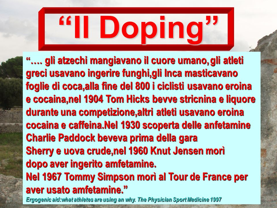 With respect to intent,the IOC has defined Doping as the administration,or the use by a competiting athlete,of any substance taken into the body or any physiological substance taken in abnormal quantity or by abnormal route of entry into the body,with the sole intention of increasing in an artificial and unfair manner his performance in competition.