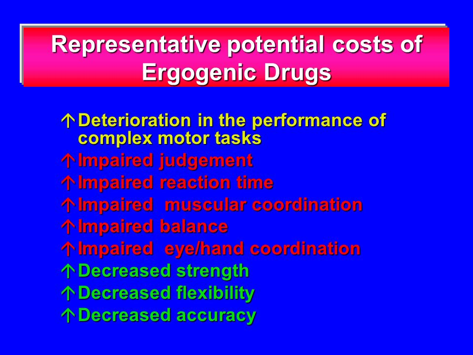 Representative potential costs of Ergogenic Drugs Deterioration in the performance of complex motor tasks Deterioration in the performance of complex