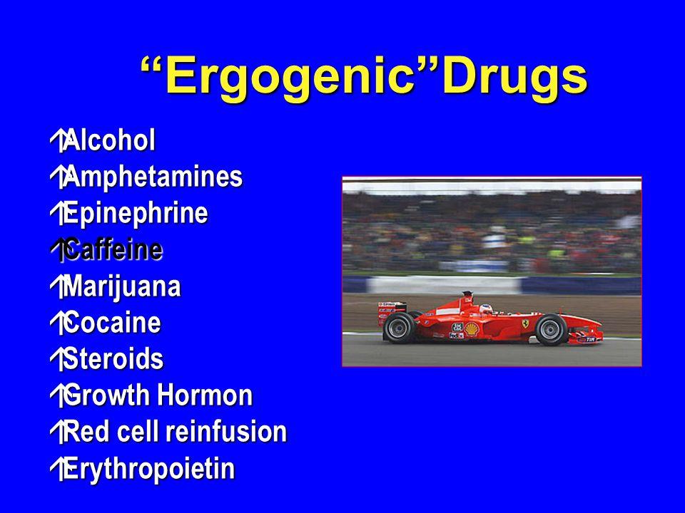 á Alcohol á Amphetamines á Epinephrine á Caffeine á Marijuana á Cocaine á Steroids á Growth Hormon á Red cell reinfusion á Erythropoietin ErgogenicDrugs