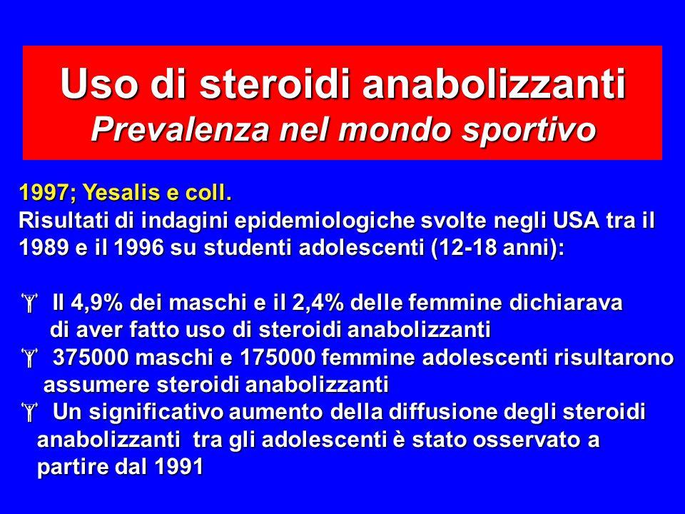 Uso di steroidi anabolizzanti Prevalenza nel mondo sportivo 1997; Yesalis e coll.