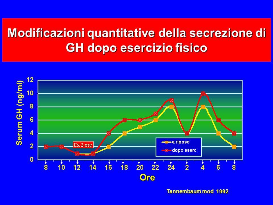 Modificazioni quantitative della secrezione di GH dopo esercizio fisico Ore Ore Ex 2 ore Serum GH (ng/ml) Tannembaum mod 1992