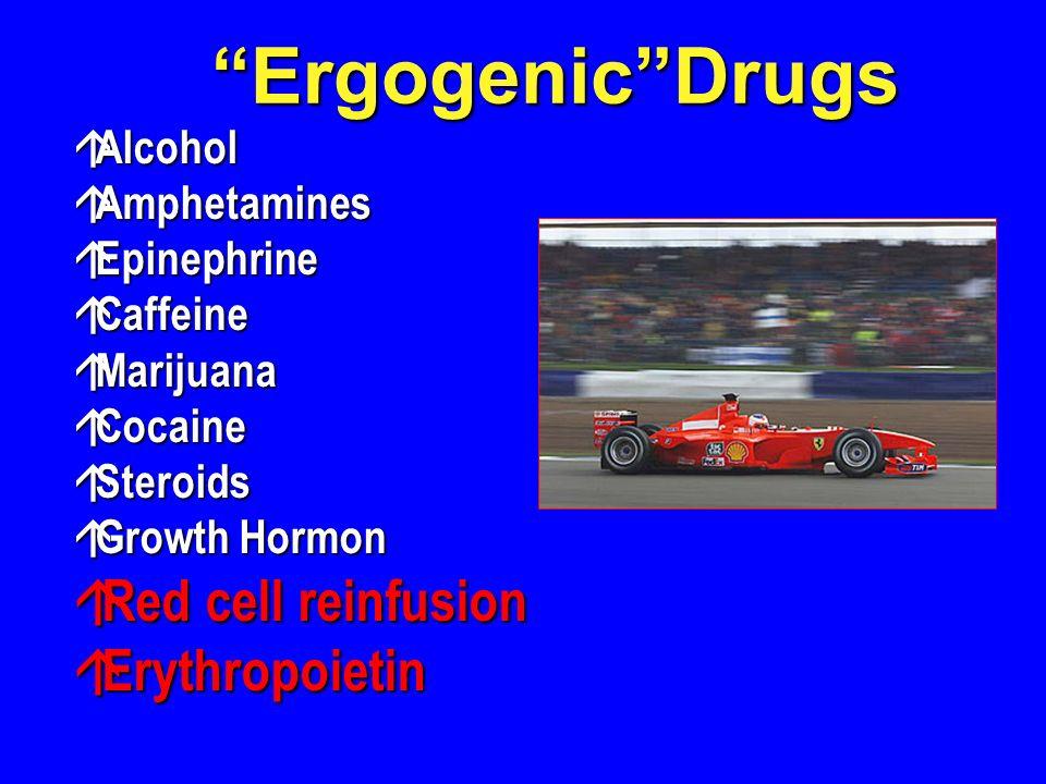 ErgogenicDrugs á Alcohol á Amphetamines á Epinephrine á Caffeine á Marijuana á Cocaine á Steroids á Growth Hormon á Red cell reinfusion á Erythropoietin