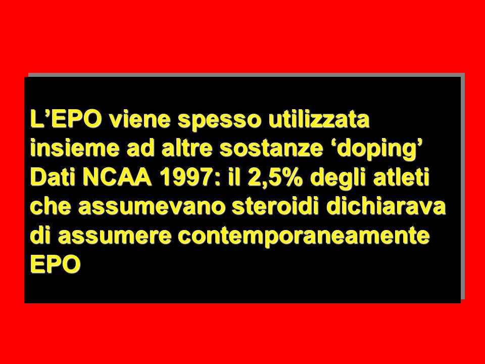 LEPO viene spesso utilizzata insieme ad altre sostanze doping Dati NCAA 1997: il 2,5% degli atleti che assumevano steroidi dichiarava di assumere contemporaneamente EPO