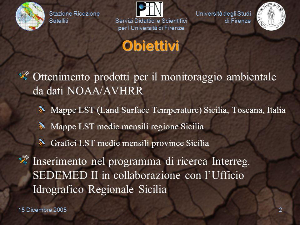 Stazione Ricezione Satelliti Università degli Studi di Firenze Servizi Didattici e Scientifici per lUniversità di Firenze 15 Dicembre 20052 Obiettivi